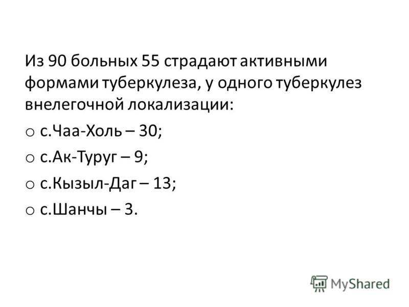 Из 90 больных 55 страдают активными формами туберкулеза, у одного туберкулез внелегочной локализации: o с.Чаа-Холь – 30; o с.Ак-Туруг – 9; o с.Кызыл-Даг – 13; o с.Шанчы – 3.