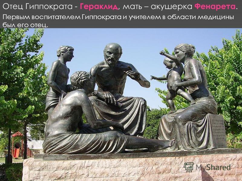 Первым воспитателем Гиппократа и учителем в области медицины был его отец. Отец Гиппократа - Гераклид, мать – акушерка Фенарета.