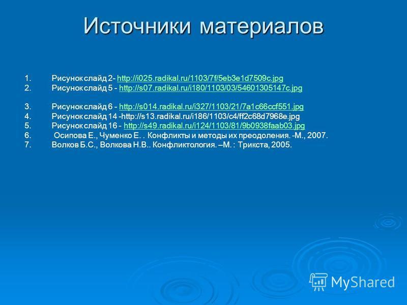 Источники материалов 1. 1. Рисунок слайд 2- http://i025.radikal.ru/1103/7f/5eb3e1d7509c.jpghttp://i025.radikal.ru/1103/7f/5eb3e1d7509c.jpg 2. 2. Рисунок слайд 5 - http://s07.radikal.ru/i180/1103/03/54601305147c.jpghttp://s07.radikal.ru/i180/1103/03/5