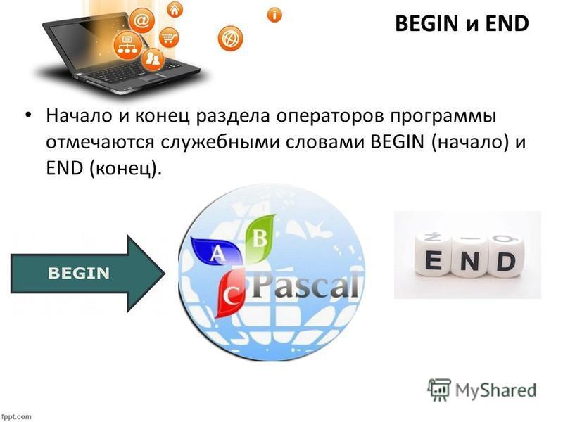BEGIN и END Начало и конец раздела операторов программы отмечаются служебными словами BEGIN (начало) и END (конец).
