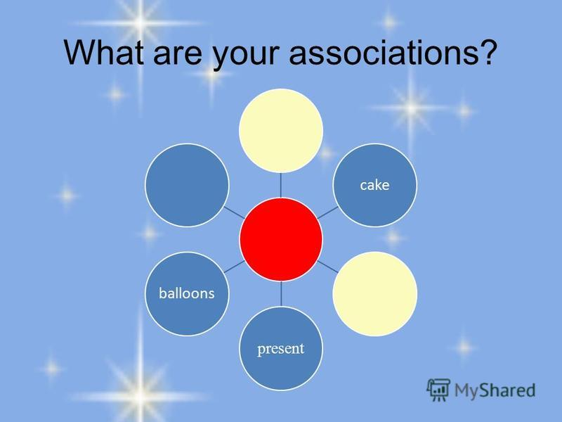 What are your associations? cake present balloons