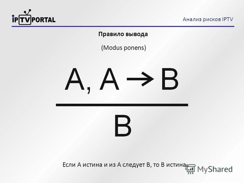 Правило вывода (Modus ponens) Анализ рисков IPTV Если А истина и из А следует В, то B истина.