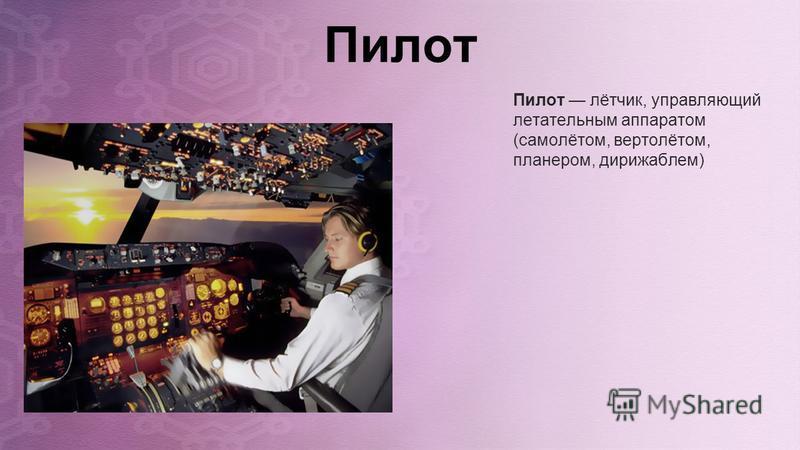 Пилот Пилот лётчик, управляющий летательным аппаратом (самолётом, вертолётом, планером, дирижаблем)