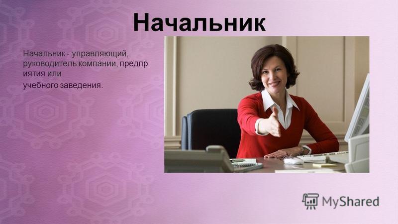 Начальник Начальник - управляющий, руководитель компании, предприятия или учебного заведения.