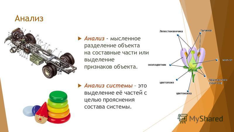 Анализ - мысленное разделение объекта на составные части или выделение признаков объекта. Анализ системы – это выделение её частей с целью прояснения состава системы. Анализ