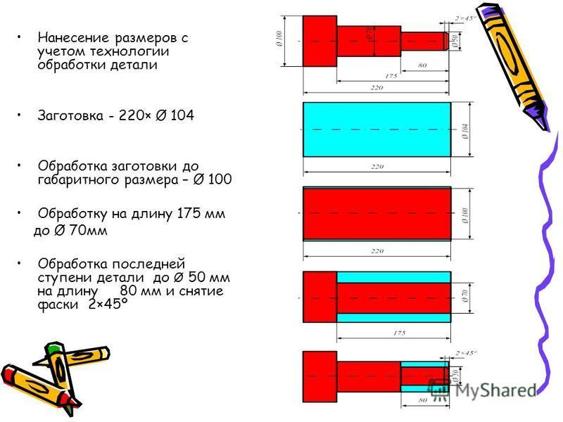 Нанесение размеров с учетом технологии обработки детали Заготовка - 220× Ø 104 Обработка заготовки до габаритного размера – Ø 100 Обработку на длину 175 мм до Ø 70 мм Обработка последней ступени детали до Ø 50 мм на длину 80 мм и снятие фаски 2×45º