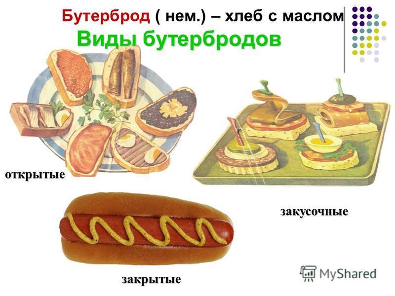 Виды бутербродов Бутерброд ( нем.) – хлеб с маслом Виды бутербродов открытые закусочные закрытые