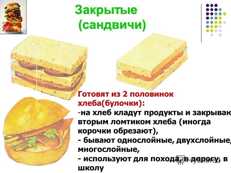 Закрытые (сандвичи) Закрытые (сандвичи) Готовят из 2 половинок хлеба(булочки): -на хлеб кладут продукты и закрывают вторым ломтиком хлеба (иногда корочки обрезают), - бывают однослойные, двухслойные, многослойные, - используют для похода, в дорогу, в