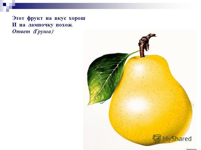 Этот фрукт на вкус хорош И на лампочку похож. Ответ ( Груша )