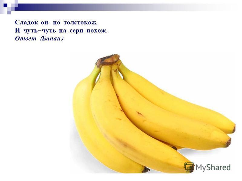 Сладок он, но толстокож, И чуть - чуть на серп похож. Ответ ( Банан )
