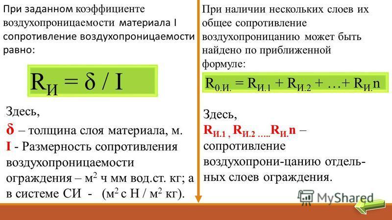 При заданном коэффициенте воздухопроницаемости материала I сопротивление воздухопроницаемости равно: R И = δ / I Здесь, δ – толщина слоя материала, м. I - Размерность сопротивления воздухопроницаемости ограждения – м 2 ч мм вод.ст. кг; а в системе СИ