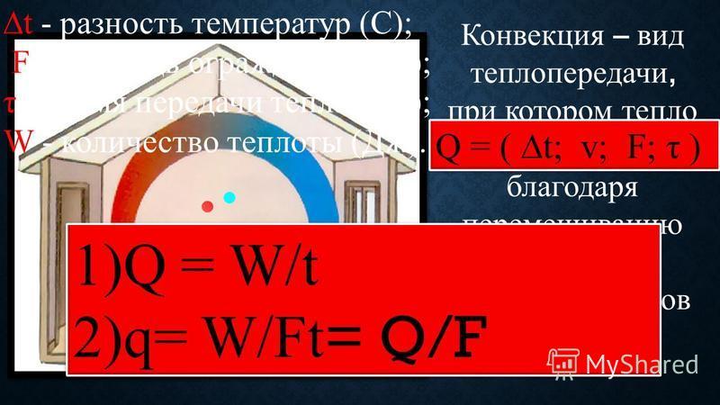 Конвекция – вид теплопередачи, при котором тепло передается благодаря перемешиванию достаточно больших объемов вещества. Q = ( t; v; F; τ ) 1)Q = W/t 2)q= W/Ft = Q/F 1)Q = W/t 2)q= W/Ft = Q/F