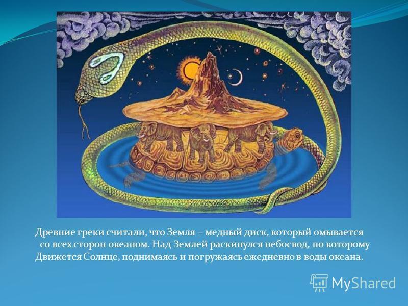 Древние греки считали, что Земля – медный диск, который омывается со всех сторон океаном. Над Землей раскинулся небосвод, по которому Движется Солнце, поднимаясь и погружаясь ежедневно в воды океана.