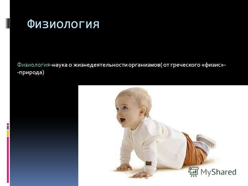 Физиология Физиология-наука о жизнедеятельности организмов( от греческого «физис»- -природа)