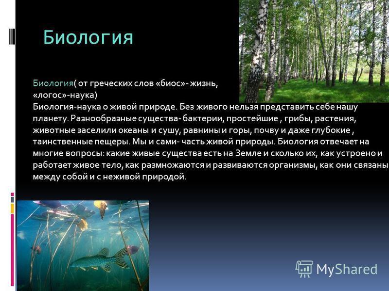 Биология Биология( от греческих слов «биос»- жизнь, «логос»-наука) Биология-наука о живой природе. Без живого нельзя представить себе нашу планету. Разнообразные существа- бактерии, простейшие, грибы, растения, животные заселили океаны и сушу, равнин
