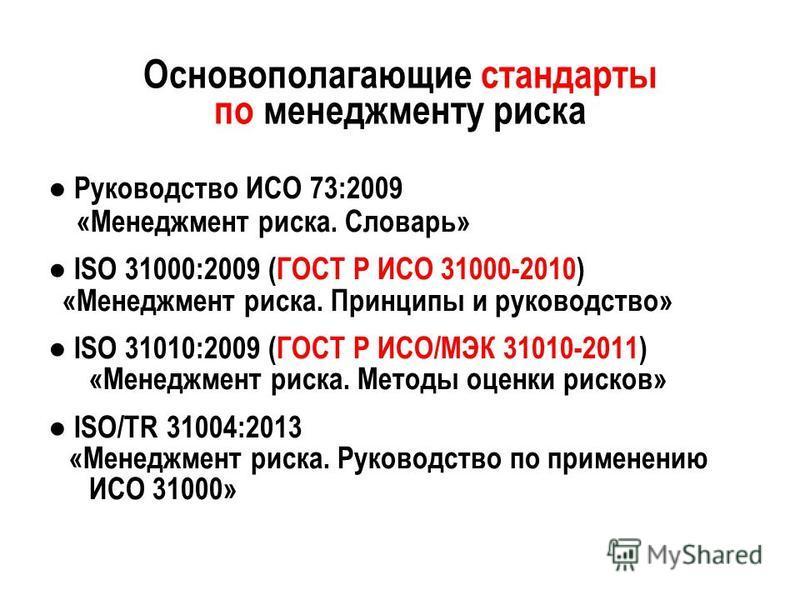Основополагающие стандарты по менеджменту риска Руководство ИСО 73:2009 «Менеджмент риска. Словарь» ISO 31000:2009 (ГОСТ Р ИСО 31000-2010) «Менеджмент риска. Принципы и руководство» ISO 31010:2009 (ГОСТ Р ИСО/МЭК 31010-2011) «Менеджмент риска. Методы