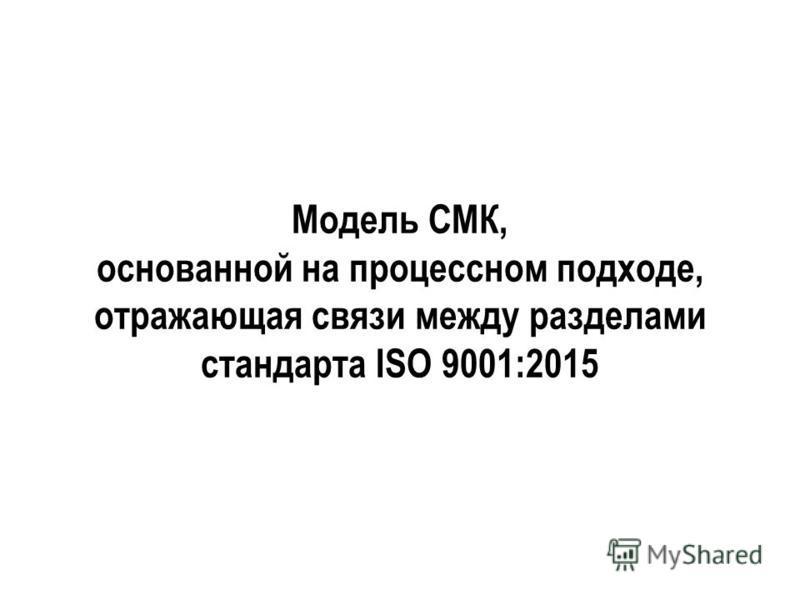Модель СМК, основанной на процессном подходе, отражающая связи между разделами стандарта ISO 9001:2015
