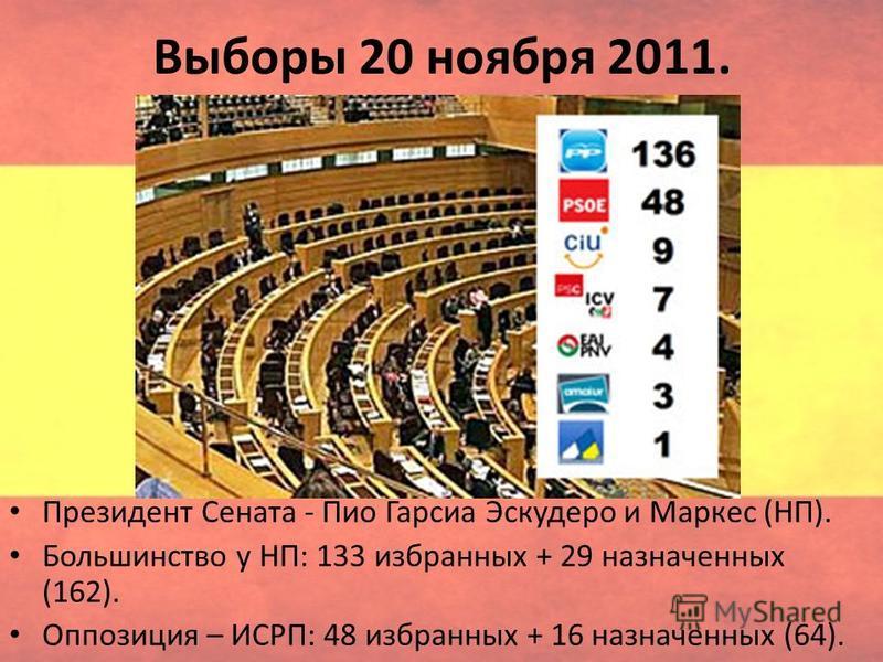 Выборы 20 ноября 2011. Президент Сената - Пио Гарсиа Эскудеро и Маркес (НП). Большинство у НП: 133 избранных + 29 назначенных (162). Оппозиция – ИСРП: 48 избранных + 16 назначенных (64).