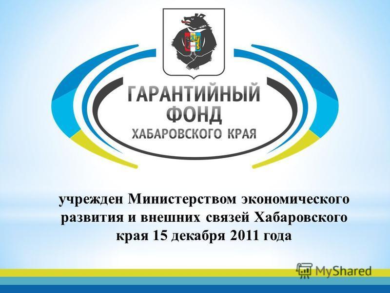 учрежден Министерством экономического развития и внешних связей Хабаровского края 15 декабря 2011 года