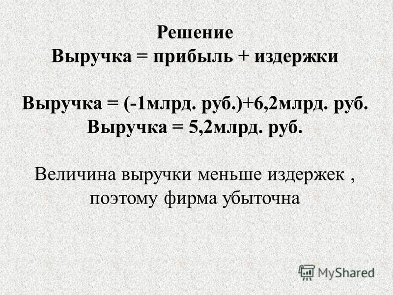 Решение Выручка = прибыль + издержки Выручка = (-1 млрд. руб.)+6,2 млрд. руб. Выручка = 5,2 млрд. руб. Величина выручки меньше издержек, поэтому фирма убыточна