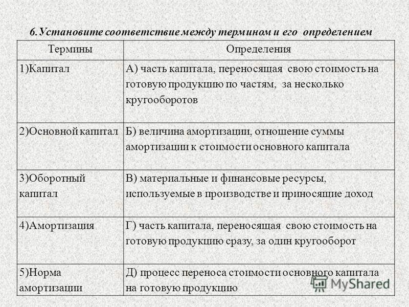 6. Установите соответствие между термином и его определением Термины Определения 1)Капитал А) часть капитала, переносящая свою стоимость на готовую продукцию по частям, за несколько кругооборотов 2)Основной капитал Б) величина амортизации, отношение
