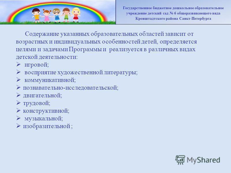 Содержание указанных образовательных областей зависит от возрастных и индивидуальных особенностей детей, определяется целями и задачами Программы и реализуется в различных видах детской деятельности: игровой; восприятие художественной литературы; ком