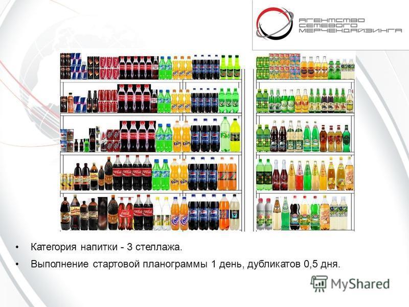 Категория напитки - 3 стеллажа. Выполнение стартовой планограммы 1 день, дубликатов 0,5 дня.