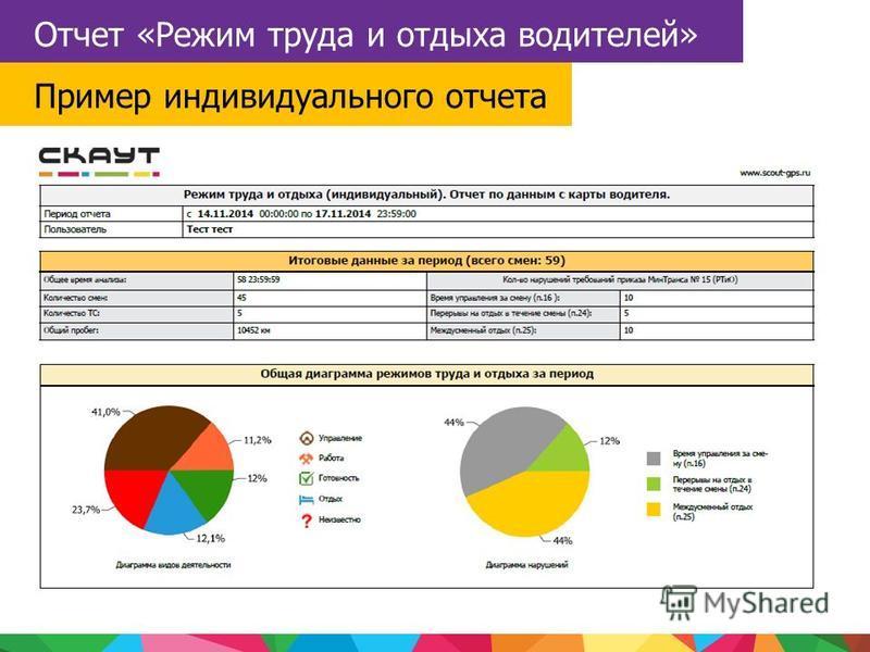 Отчет «Режим труда и отдыха водителей» Пример индивидуального отчета