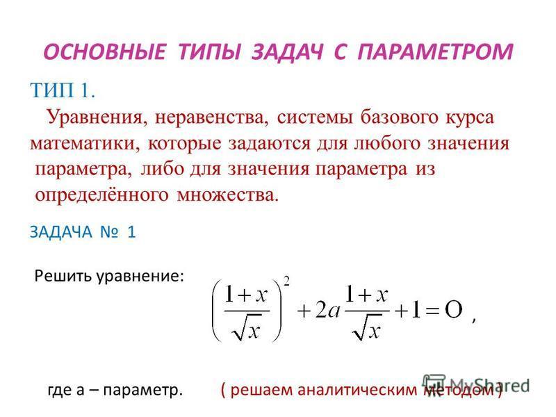 ТИП 1. Уравнения, неравенства, системы базового курса математики, которые задаются для любого значения параметра, либо для значения параметра из определённого множества. ОСНОВНЫЕ ТИПЫ ЗАДАЧ С ПАРАМЕТРОМ ЗАДАЧА 1 Решить уравнение: где а – параметр. (