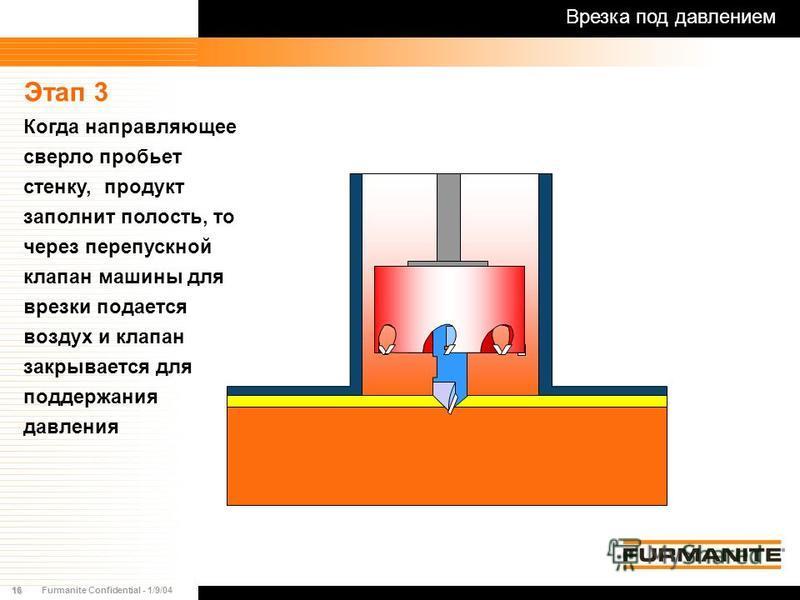 16Furmanite Confidential - 1/9/04 Этап 3 Когда направляющее сверло пробьет стенку, продукт заполнит полость, то через перепускной клапан машины для врезки подается воздух и клапан закрывается для поддержания давления Врезка под давлением