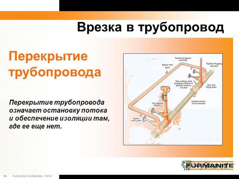 74Furmanite Confidential - 1/9/04 Врезка в трубопровод Перекрытие трубопровода Перекрытие трубопровода означает остановку потока и обеспечение изоляции там, где ее еще нет.