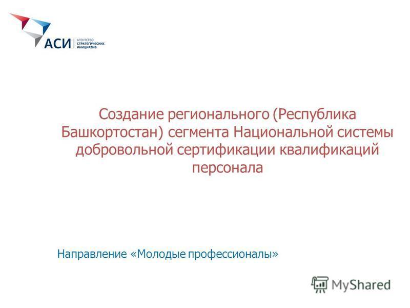 Создание регионального (Республика Башкортостан) сегмента Национальной системы добровольной сертификации квалификаций персонала Направление «Молодые профессионалы»