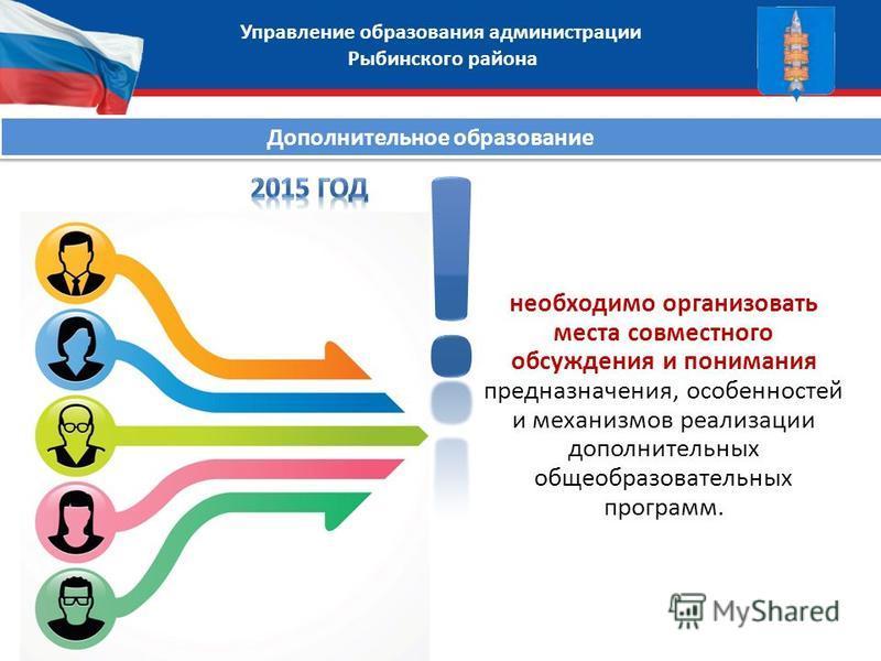 Управление образования администрации Рыбинского района необходимо организовать места совместного обсуждения и понимания предназначения, особенностей и механизмов реализации дополнительных общеобразовательных программ. Дополнительное образование