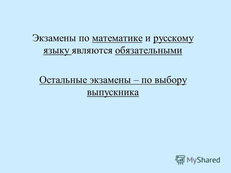Экзамены по математике и русскому языку являются обязательными Остальные экзамены – по выбору выпускника