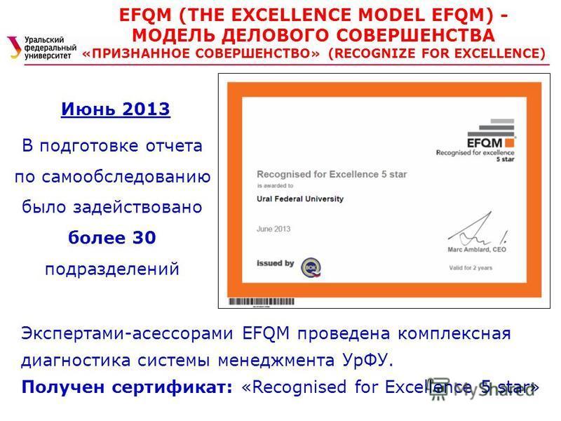 Июнь 2013 В подготовке отчета по самообследованию было задействовано более 30 подразделений EFQM (THE EXCELLENCE MODEL EFQM) - МОДЕЛЬ ДЕЛОВОГО СОВЕРШЕНСТВА «ПРИЗНАННОЕ СОВЕРШЕНСТВО» (RECOGNIZE FOR EXCELLENCE) Экспертами-асессорами EFQM проведена комп