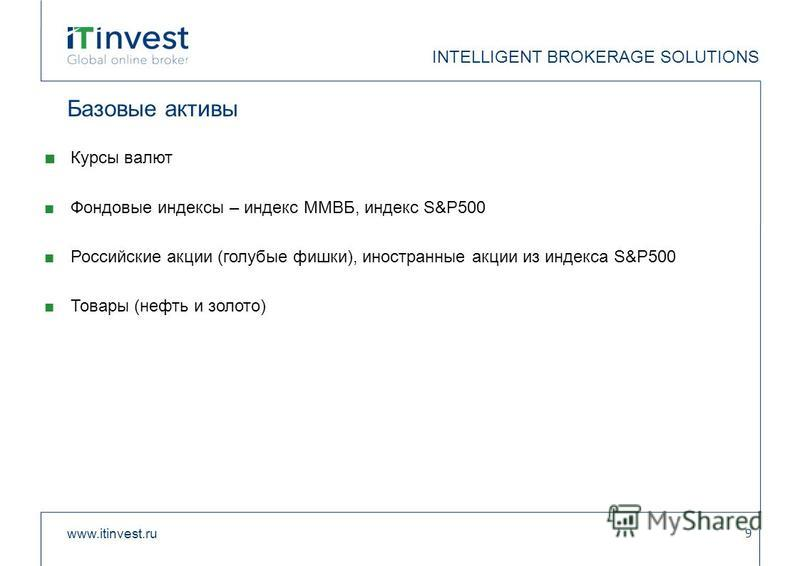 Базовые активы Курсы валют Фондовые индексы – индекс ММВБ, индекс S&P500 Российские акции (голубые фишки), иностранные акции из индекса S&P500 Товары (нефть и золото) www.itinvest.ru 9 INTELLIGENT BROKERAGE SOLUTIONS