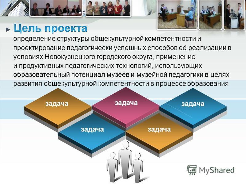 определение структуры общекультурной компетентности и проектирование педагогически успешных способов её реализации в условиях Новокузнецкого городского округа, применение и продуктивных педагогических технологий, использующих образовательный потенциа