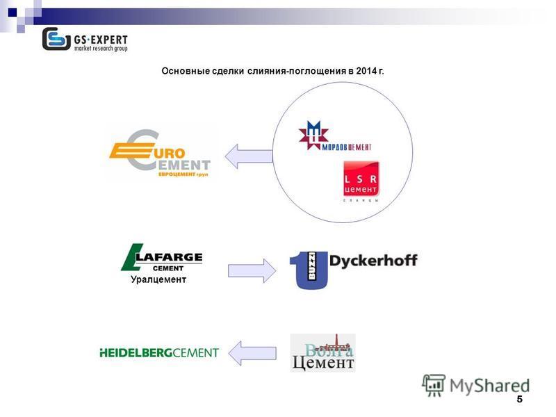 5 Основные сделки слияния-поглощения в 2014 г. Уралцемент