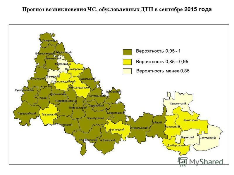 Прогноз возникновения ЧС, обусловленных ДТП в сентябре 2015 года Вероятность 0,95 - 1 Вероятность 0,85 – 0,95 Вероятность менее 0,85