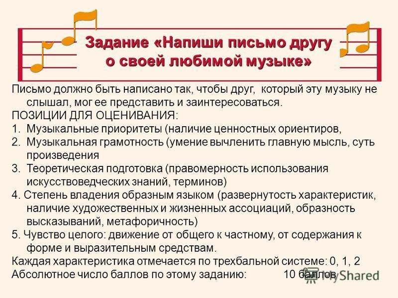 Письмо должно быть написано так, чтобы друг, который эту музыку не слышал, мог ее представить и заинтересоваться. ПОЗИЦИИ ДЛЯ ОЦЕНИВАНИЯ: 1. Музыкальные приоритеты (наличие ценностных ориентиров, 2. Музыкальная грамотность (умение вычленить главную м