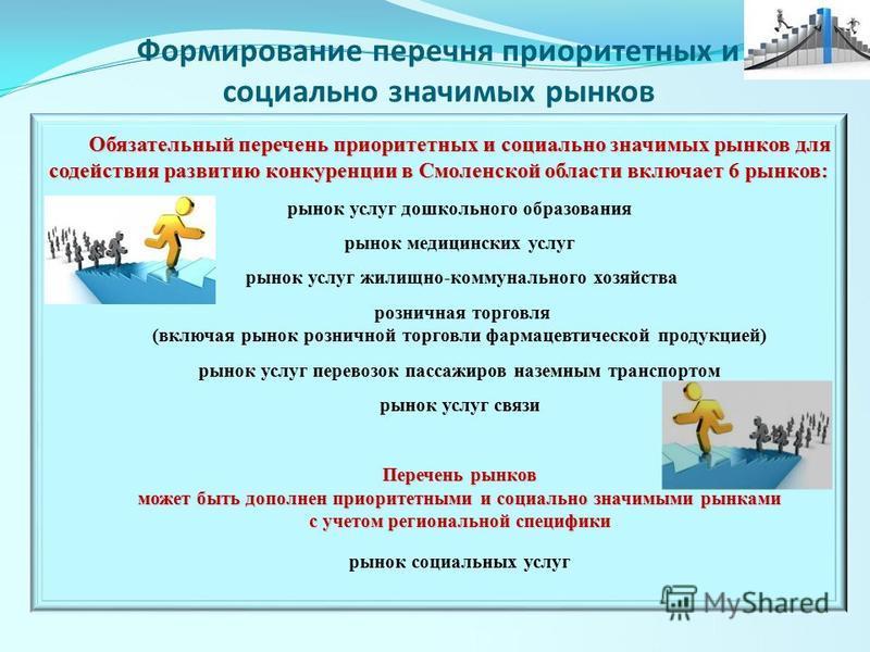 Обязательный перечень приоритетных и социально значимых рынков для содействия развитию конкуренции в Смоленской области включает 6 рынков: рынок услуг дошкольного образования рынок медицинских услуг рынок услуг жилищно-коммунального хозяйства розничн