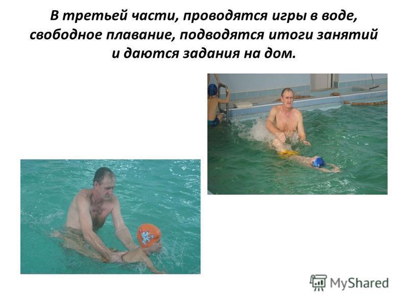 В третьей части, проводятся игры в воде, свободное плавание, подводятся итоги занятий и даются задания на дом.