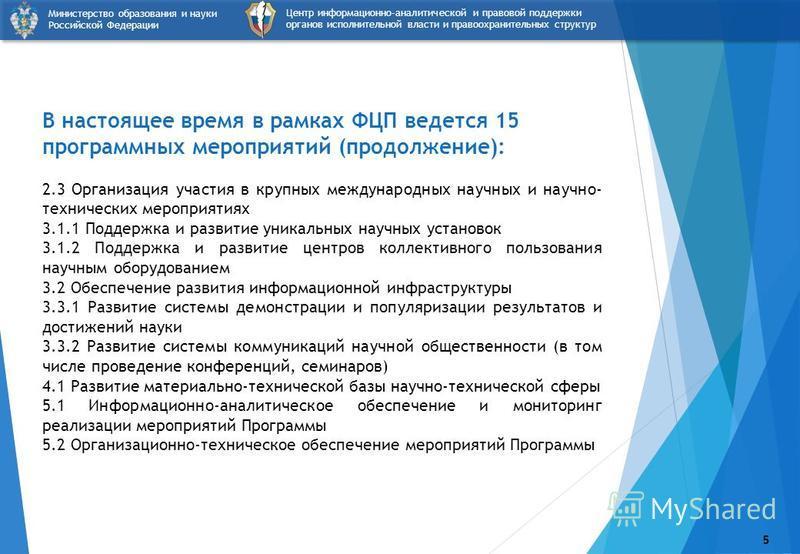5 Центр информационно-аналитической и правовой поддержки органов исполнительной власти и правоохранительных структур Министерство образования и науки Российской Федерации В настоящее время в рамках ФЦП ведется 15 программных мероприятий (продолжение)