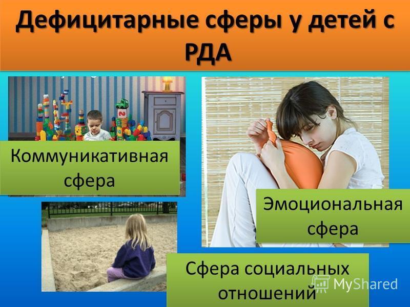 Дефицитарные сферы у детей с РДА РДА Дефицитарные сферы у детей с РДА РДА Коммуникативная сфера Эмоциональная сфера Сфера социальных отношений