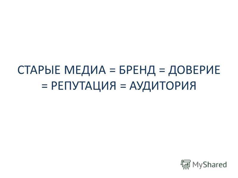 СТАРЫЕ МЕДИА = БРЕНД = ДОВЕРИЕ = РЕПУТАЦИЯ = АУДИТОРИЯ