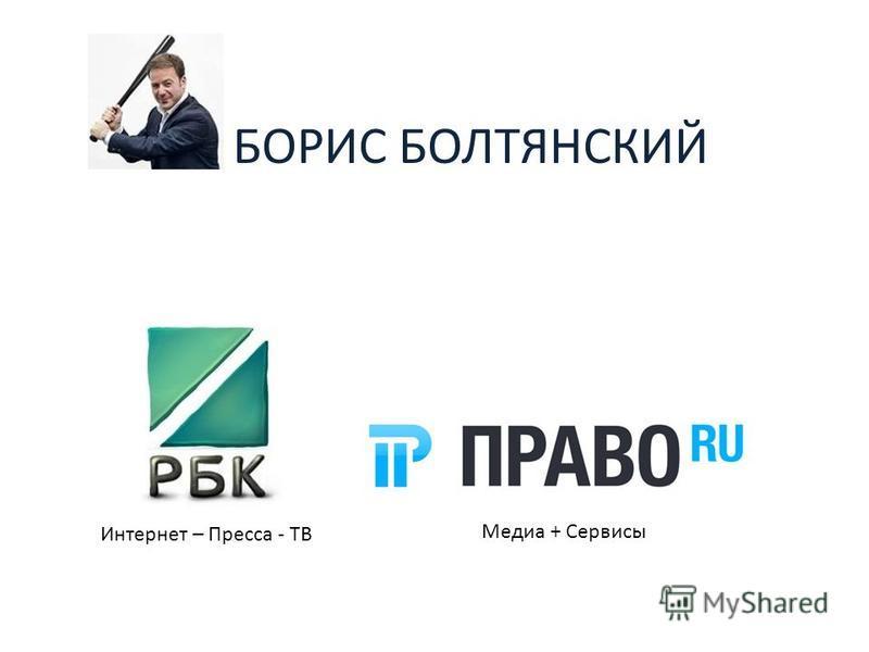 БОРИС БОЛТЯНСКИЙ Интернет – Пресса - ТВ Медиа + Сервисы