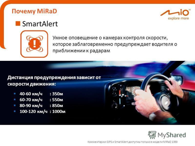 Почему MiRaD SmartAlert 40-60 км/ч: 350 м 60-70 км/ч: 550 м 80-90 км/ч: 850 м 100-120 км/ч: 1000 м Умное оповещение о камерах контроля скорости, которое заблаговременно предупреждает водителя о приближении к радарам Дистанция предупреждения зависит о
