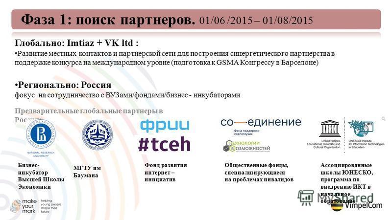 Глобально: Imtiaz + VK ltd : Развитие местных контактов и партнерской сети для построения синергетического партнерства в поддержке конкурса на международном уровне (подготовка к GSMA Конгрессу в Барселоне) Регионально: Россия фокус на сотрудничество