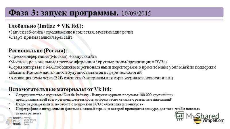 Фаза 3: запуск программы. 10/09/2015 Глобально (Imtiaz + VK ltd.): Запуск веб-сайта / продвижение в соц сетях, мультимедиа релиз Старт приема заявок через сайт Регионально (Россия): Пресс-конференция (Москва) + запуск сайта Местные региональные пресс