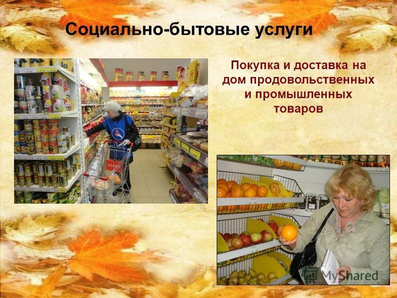 Социально-бытовые услуги Покупка и доставка на дом продовольственных и промышленных товаров